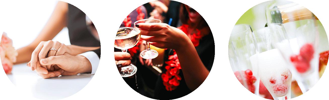 Hochzeiten, Geburtstage und Sektempfänge